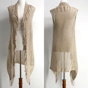 Fringe Open Knit Boho Tan Vest Cardigan size small